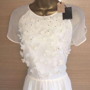 TED BAKER Floral Applique Sheer Daisy Dress UK10